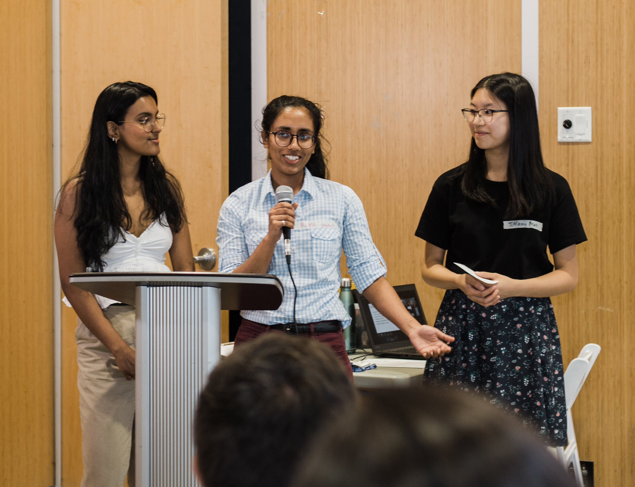 Rimi Plaha (centre) presenting with the Nature Team their climate action project.