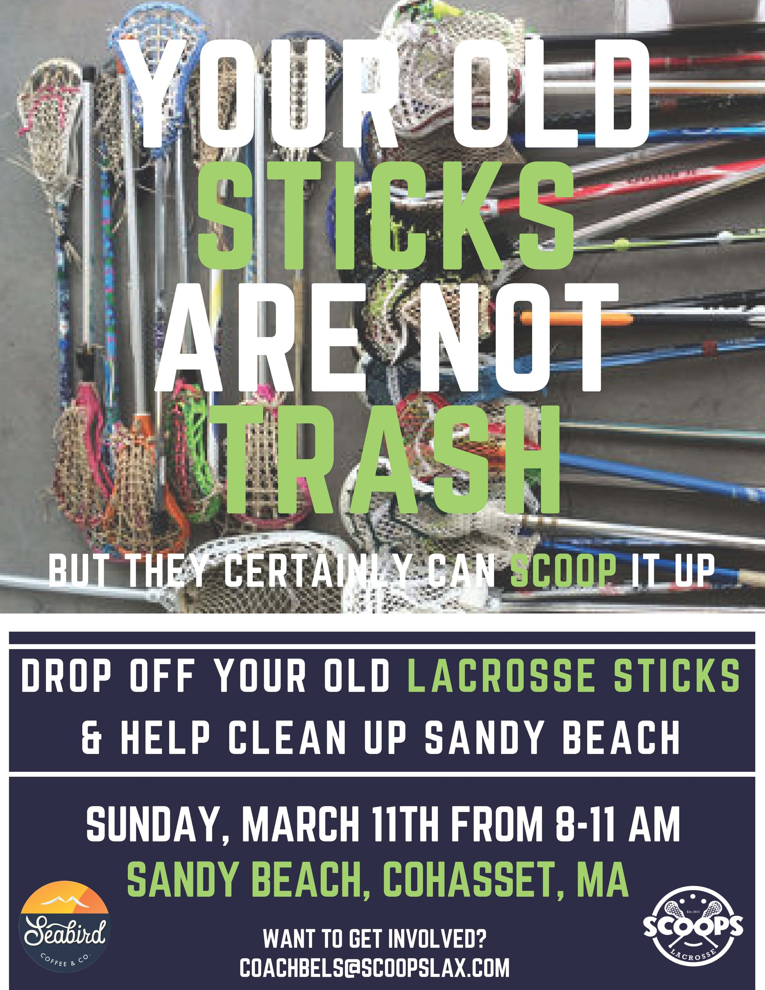 Scoops partnered with Seabird Coffeeto clean up Sandy Beach in Cohasset. - Over 50 lacrosse sticks were donated and over 25 bags of trash were collected from the clean up! THanks to everyone who volunteered their time.