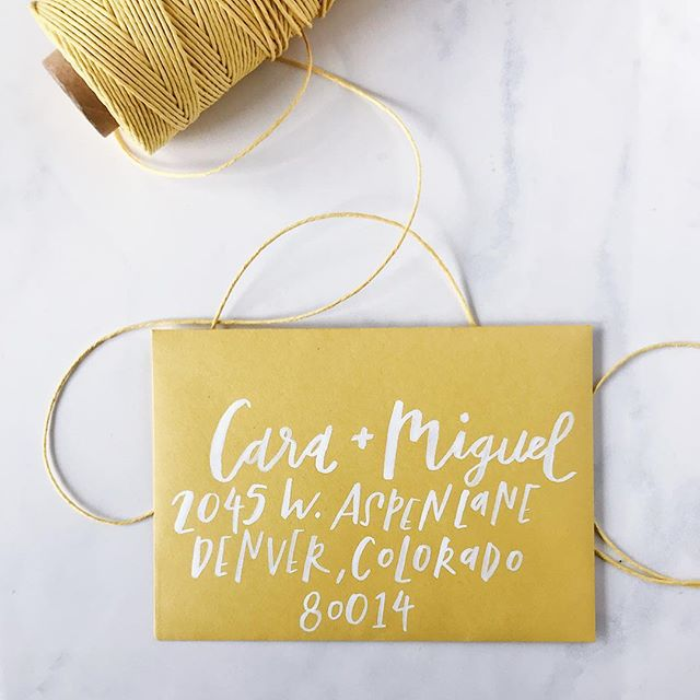 my favorite color these days ✨ white brush lettering for envelope addressing never gets old 😊 @papersource envelope in 'curry' // #designxchloe