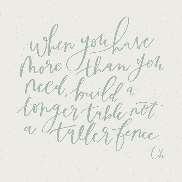 When you have more than you need, build a longer table not a taller fence. 🌿😊 #designxchloe #ipadlettering