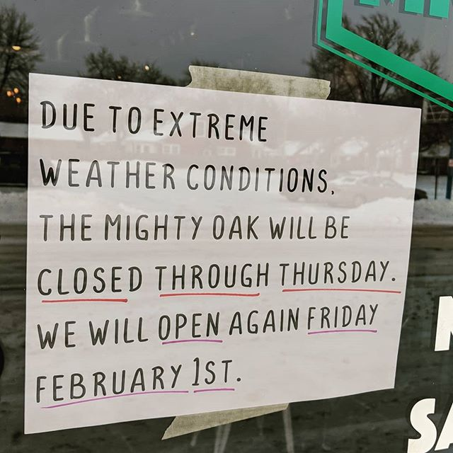 We are closing now and will not open till Friday morning. It was a hard call to make, but with the sub zero temps, the safety and well-being of our staff and customers comes first! #stayhome #staywarm #tmocafe #socold