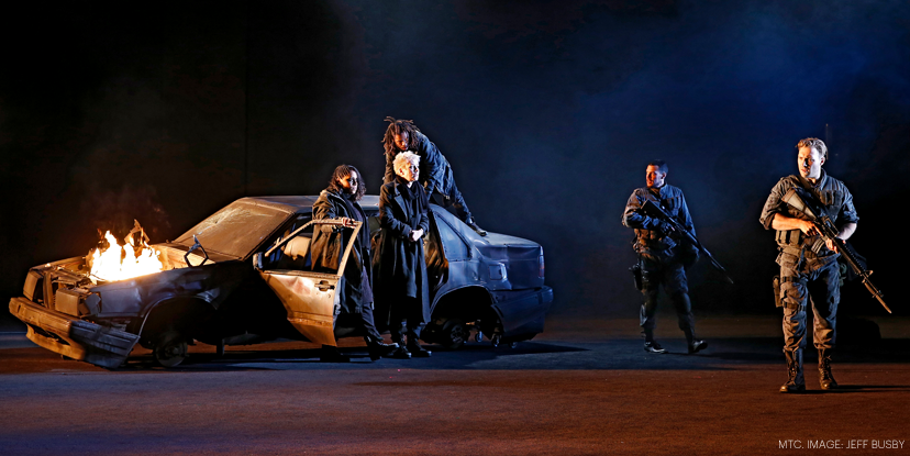 Jai Courtney (Macbeth), Kevin Hofbauer (Banquo), Kamil Ellis, Shareena Clanton and Jane Montgomery Griffiths (the three witches), photograph by Jeff Busby