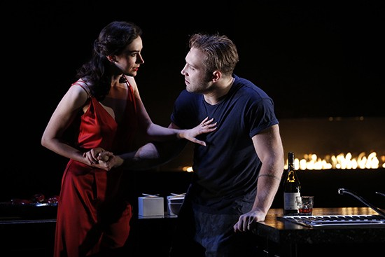 Geraldine Hakewill (Lady Macbeth) and Jai Courtney (Macbeth), photograph by Jeff Busby