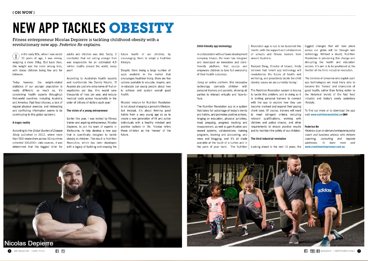Feature Story - about an Aspiring Entrepreneur on a High Profile Fitness Magazine