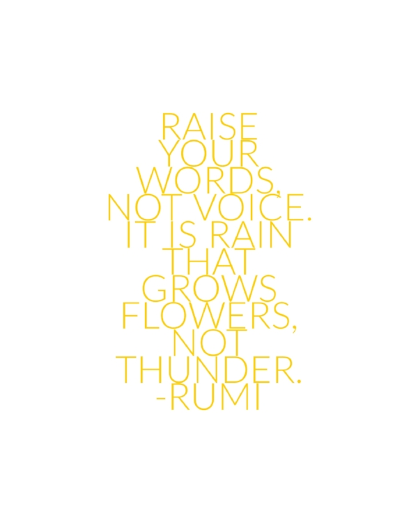 Raise Your Words, Not Voice Rumi Quote