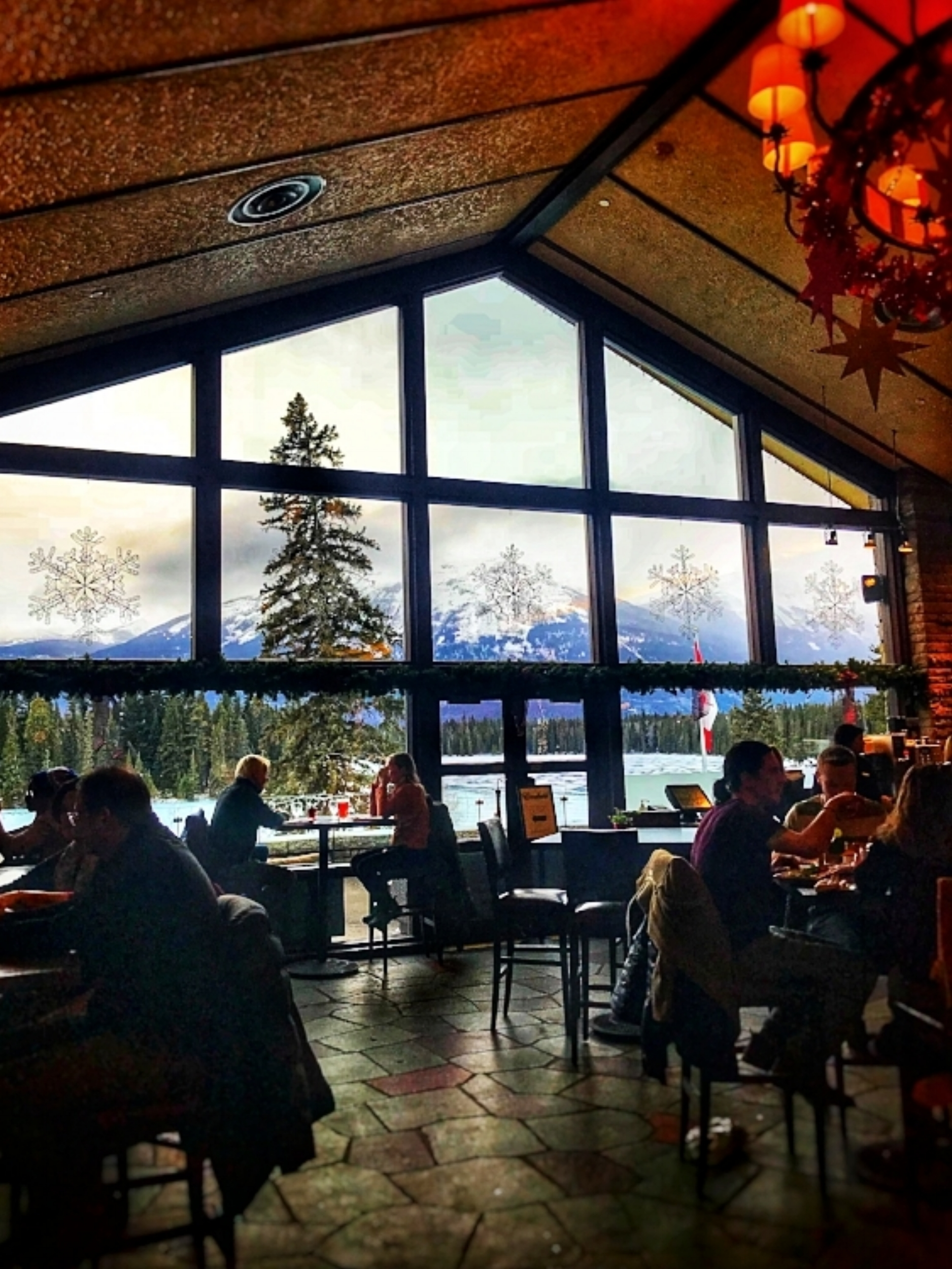 Majestic views from the Emerald Lounge in the lobby of Fairmont Jasper Park Lodge