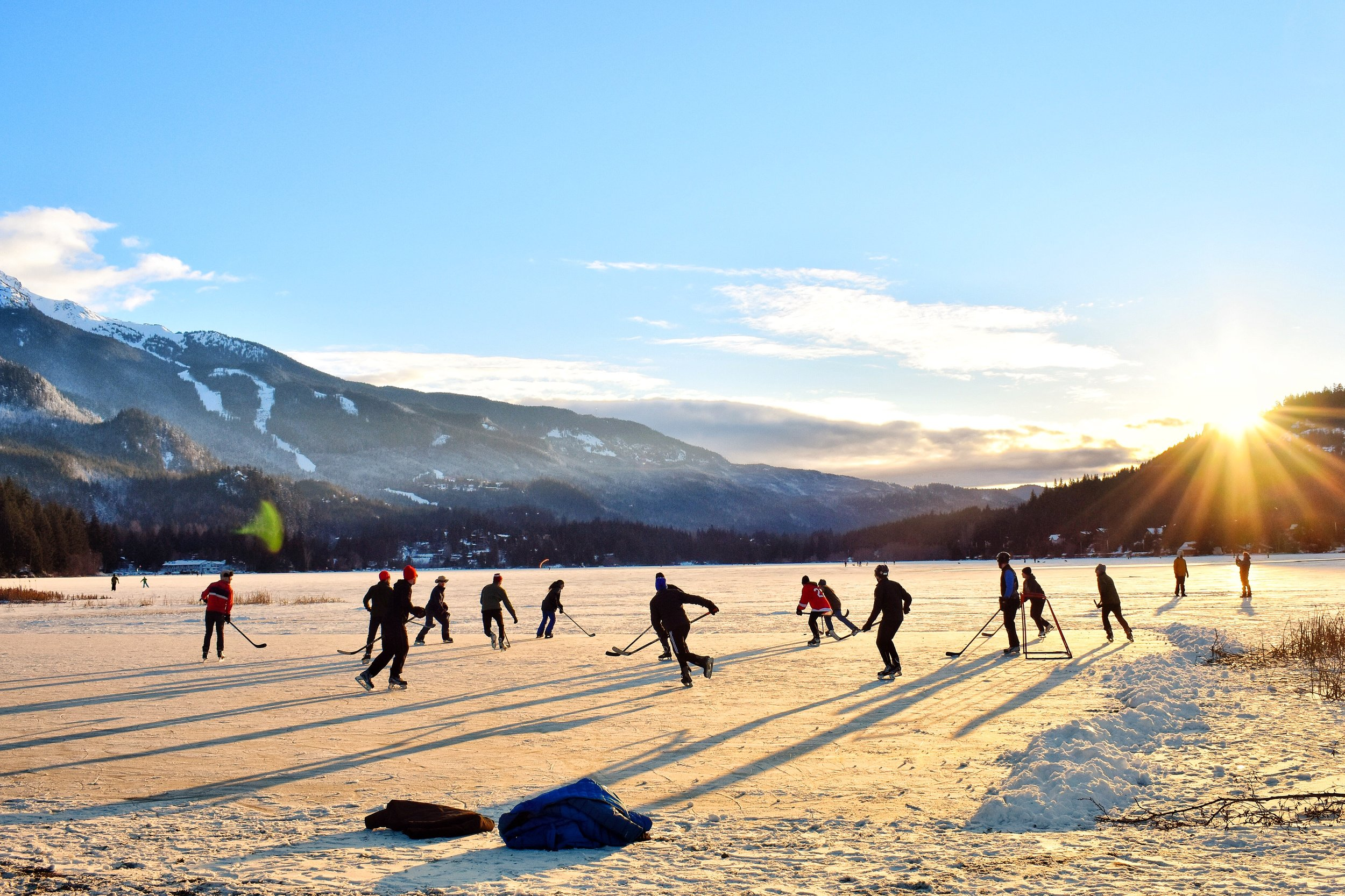 Skating on frozen lakes in Canada