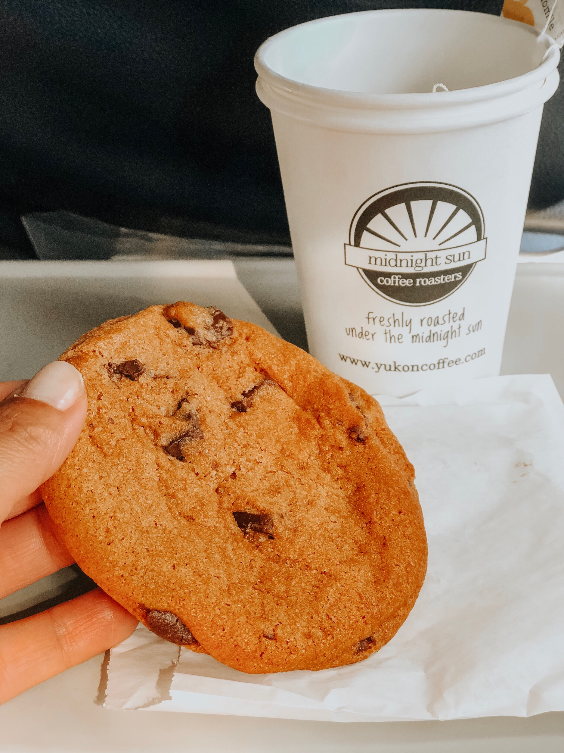 Yukon Air North airline warm cookies and best service