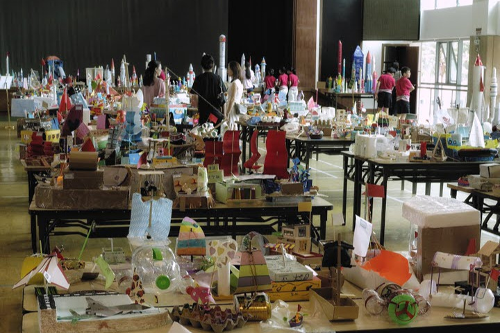 The boats, rockets, and airships had to be made from recycled materials.