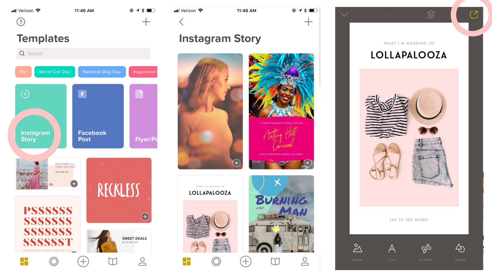 instagram story over app