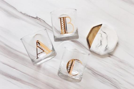 customized+monogram+whiskey+glasses