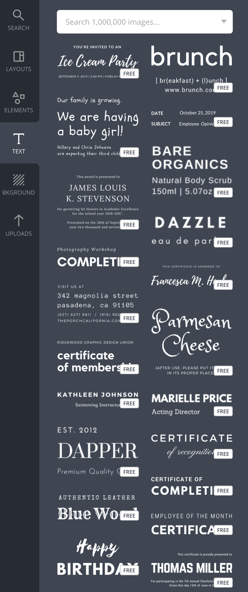 text options on canva