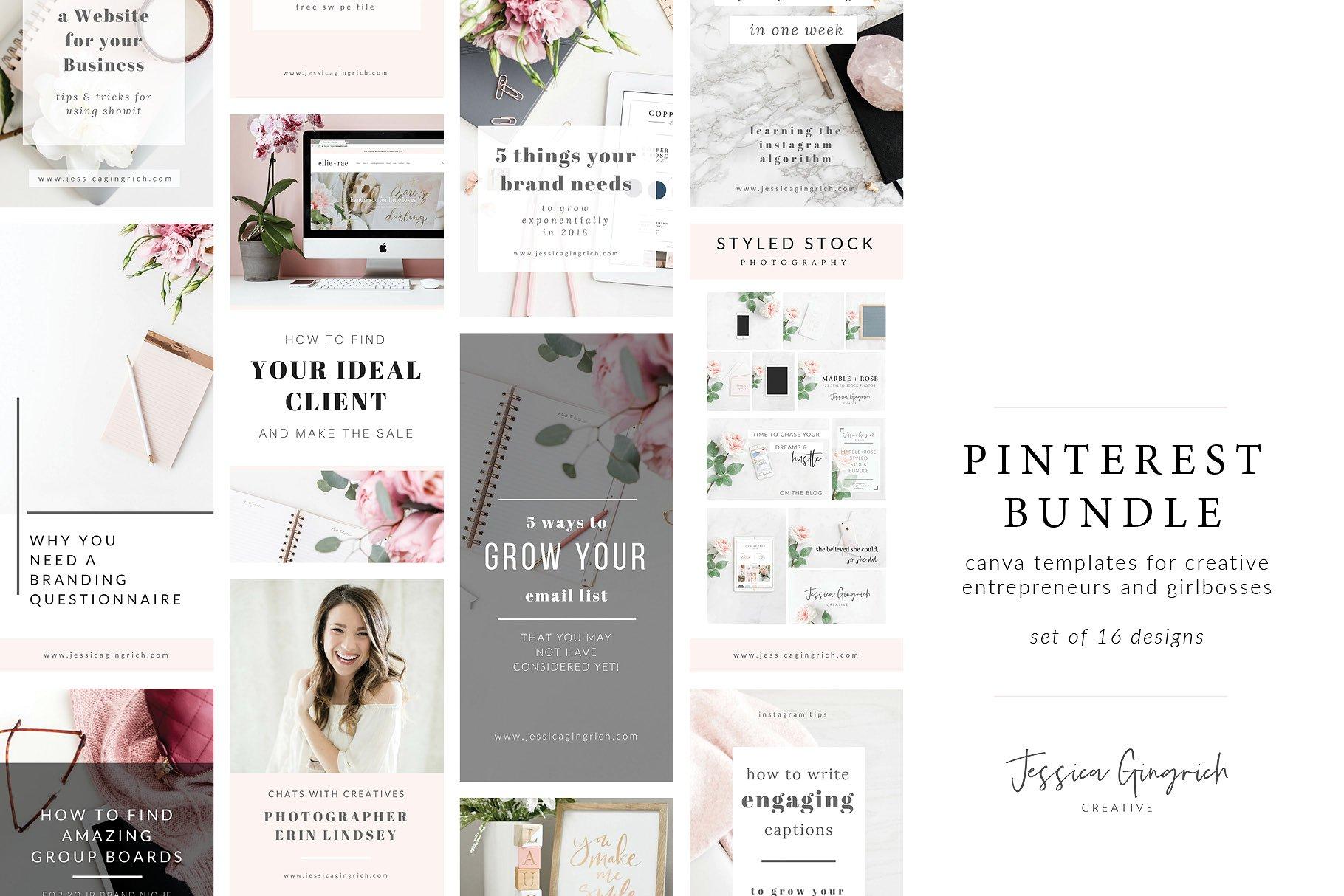 Feminine Pinterest Bundle for Canva