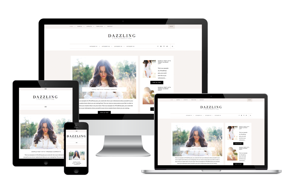 dazzling feminine wordpress theme design for lifestyle bloggers