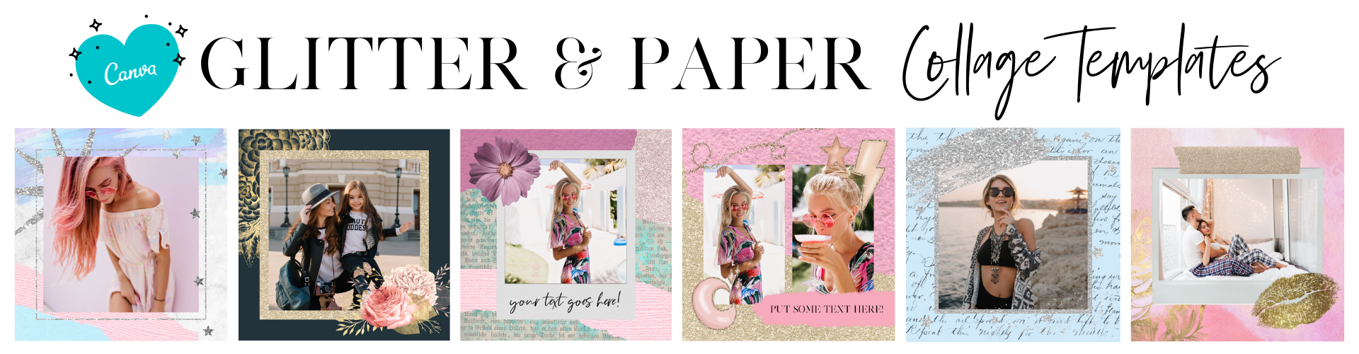 glitter and paper collage templates canva instagram
