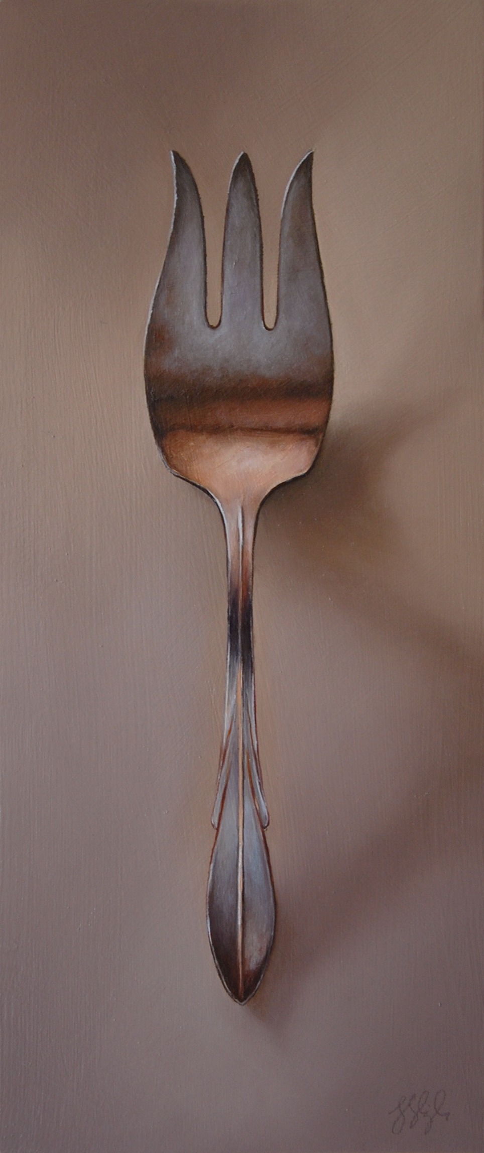Silver Fork #47, The Maestro  Oil on panel, 2016. 12x5""