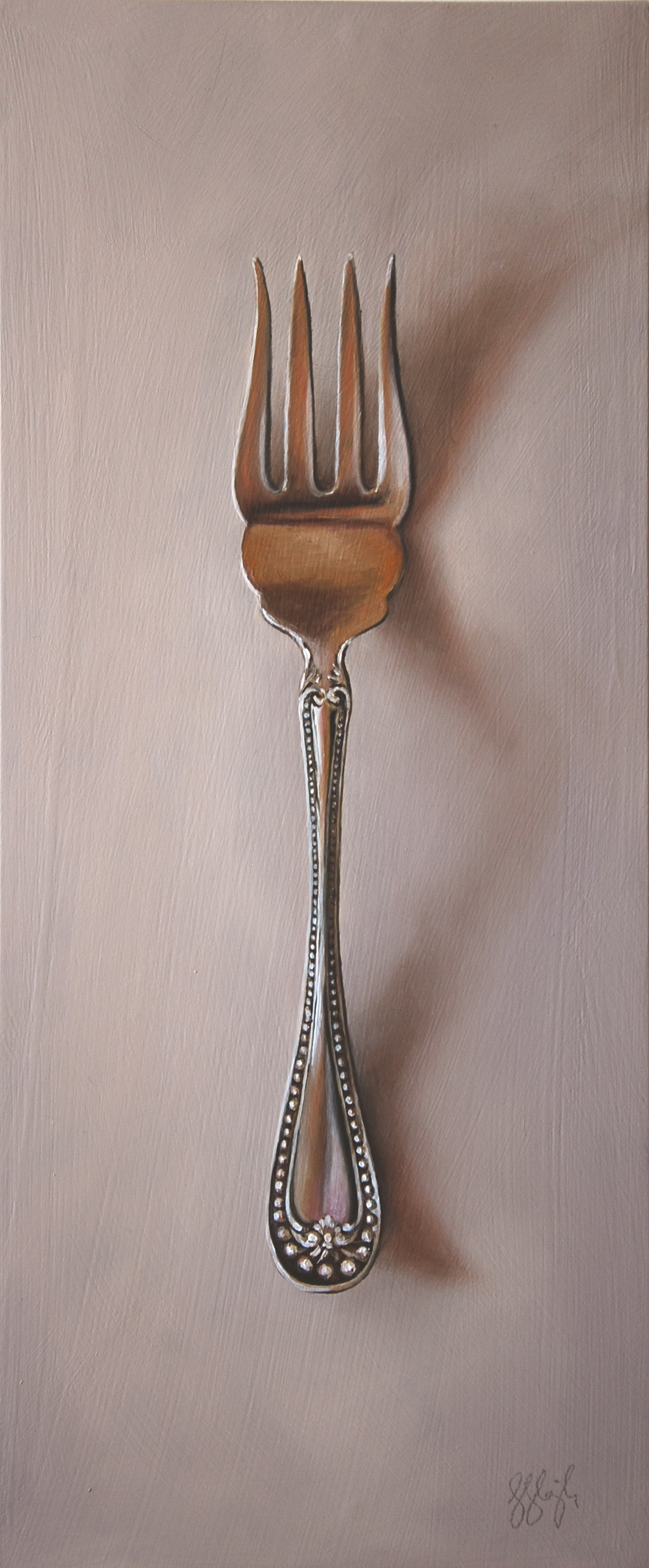 "Silver Fork #41, The Underdog  Oil on panel, 2015. 12x5"" Private collection"