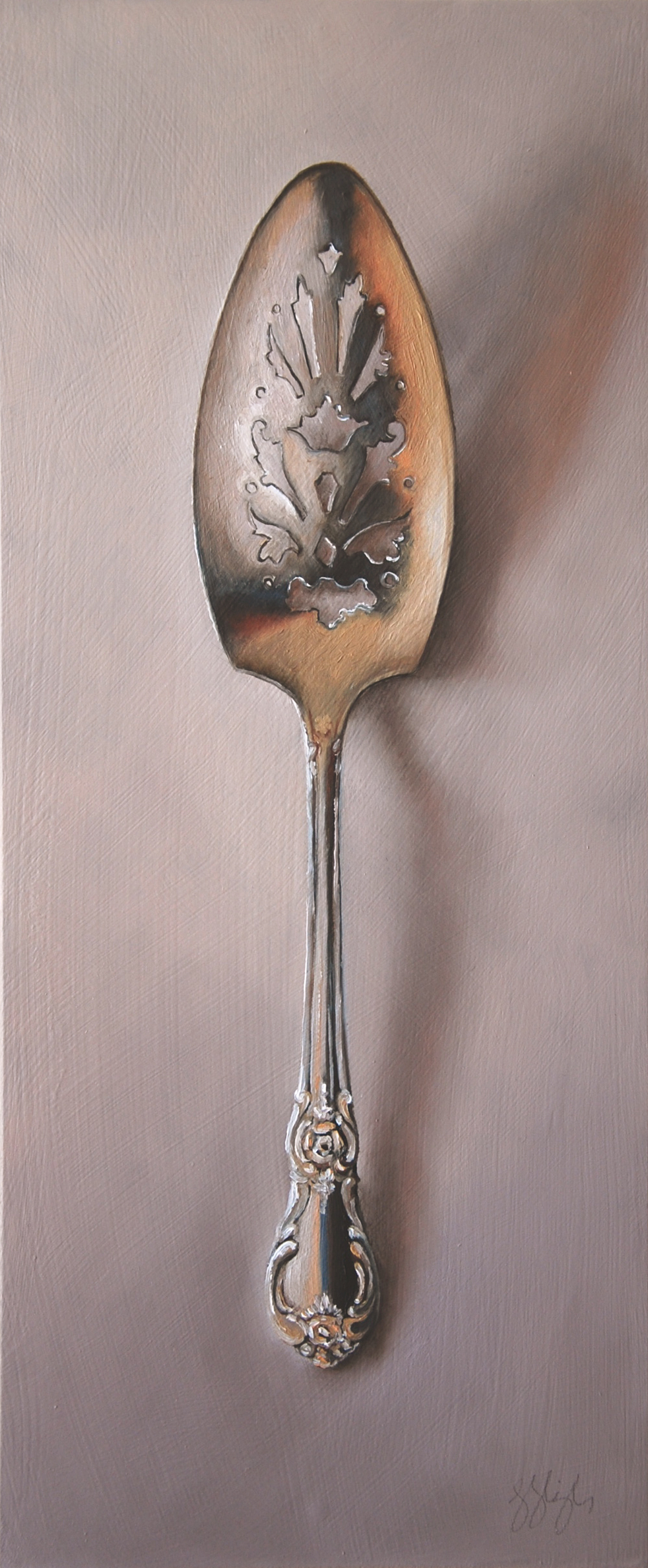 Silver Server #4, The Printmaker  Oil on panel, 2015. 12x5""