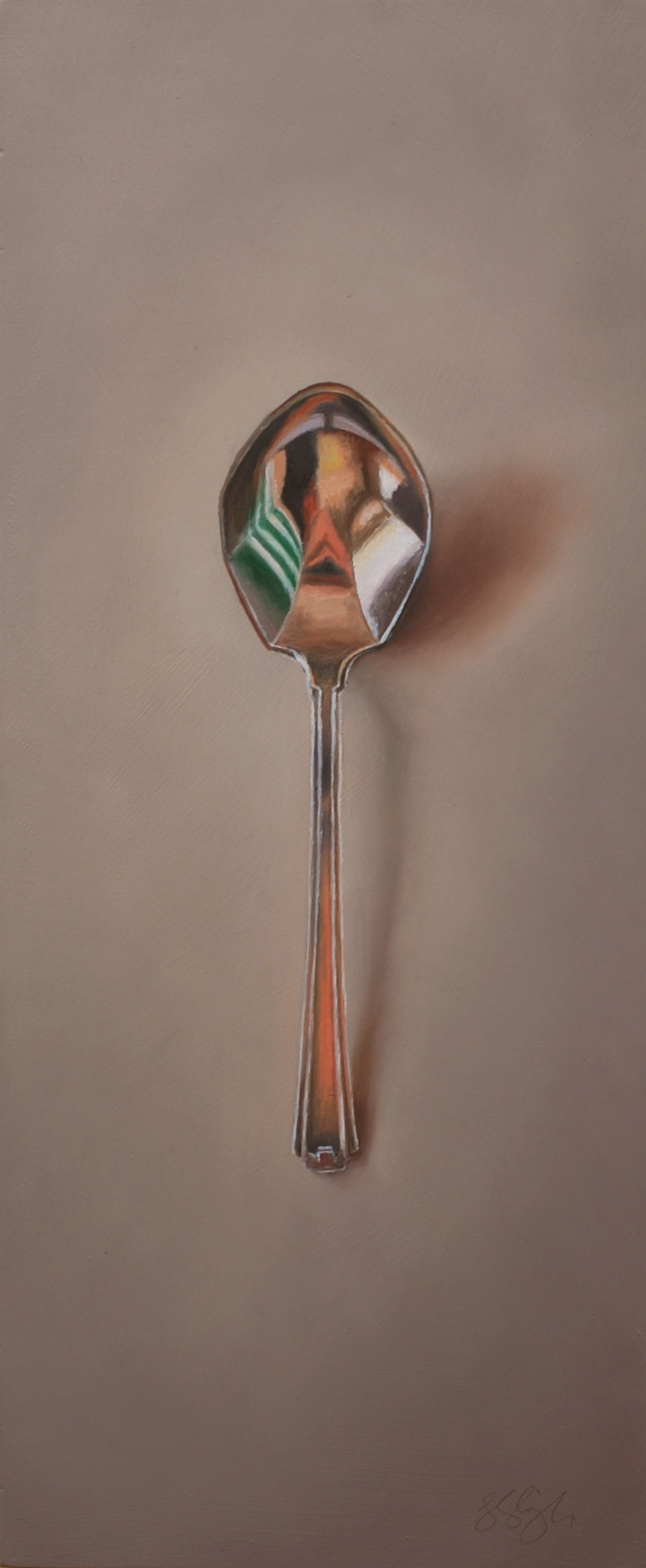 "Silver Spoon #59, The Volunteer  Oil on panel, 2014. 12x5"" Private collection"
