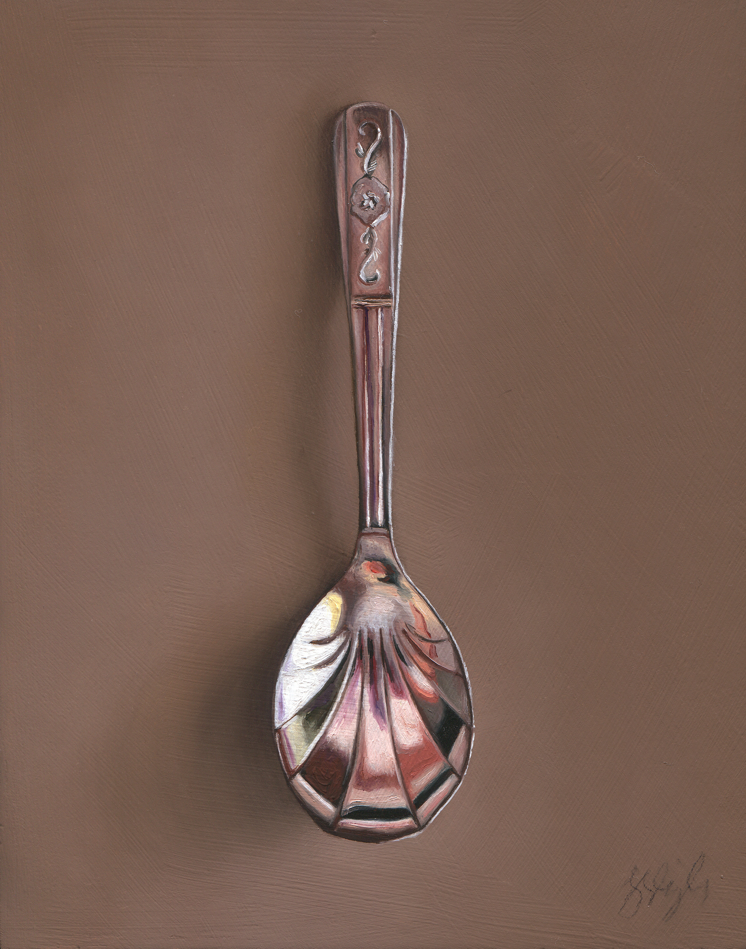 "Silver Spoon #94, The Chorine Oil on panel, 2015. 7x5.5"" Available at  George Billis Gallery,  New York"