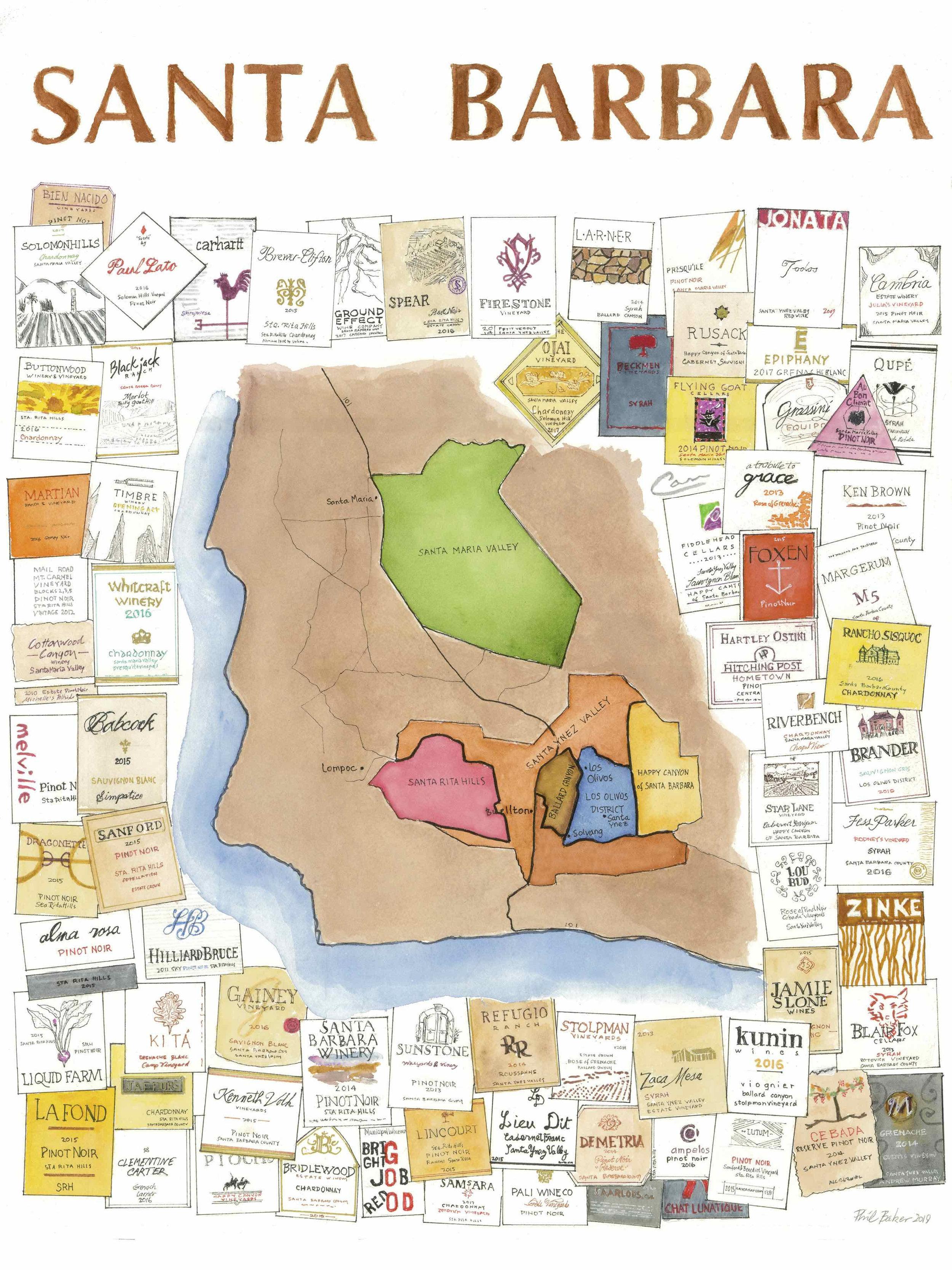 Santa Barbara Wine Map - $35 - 18