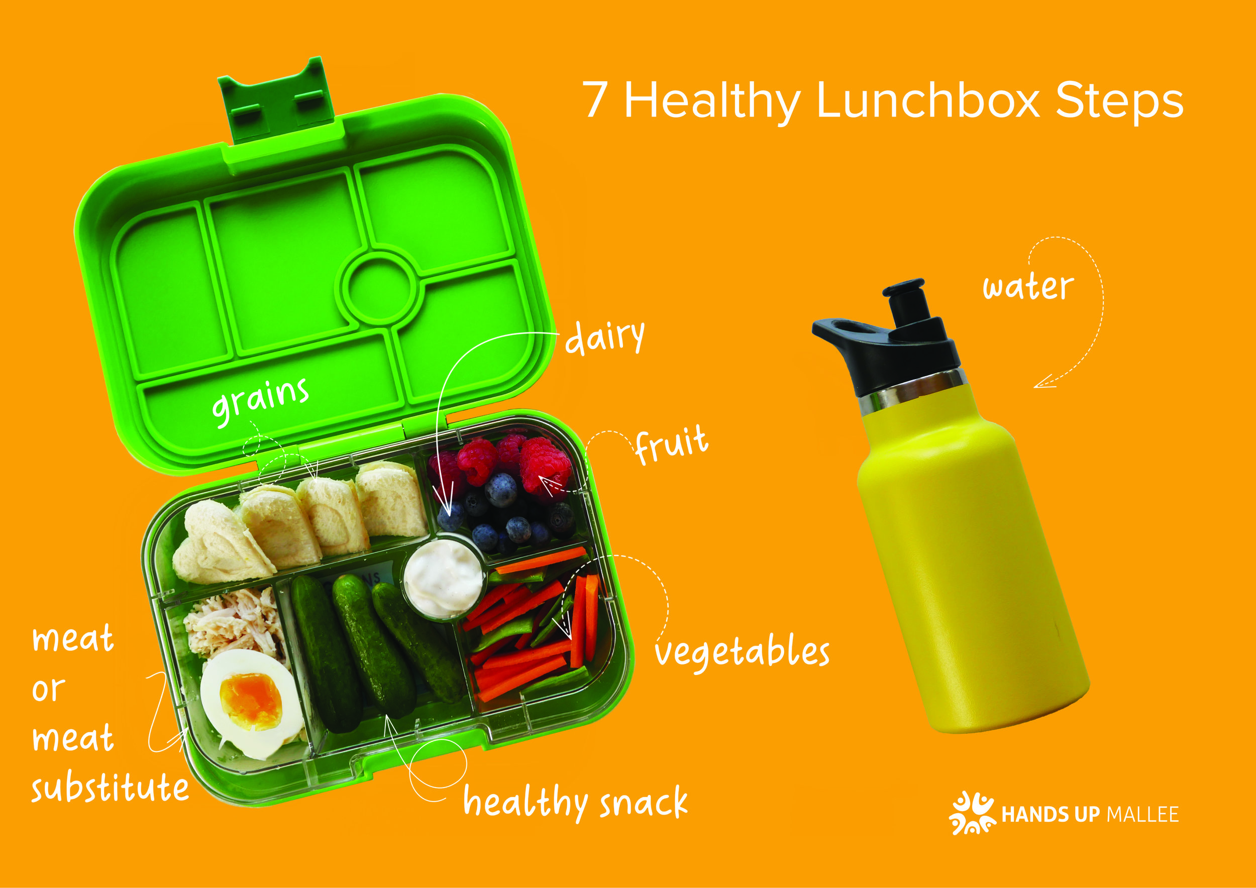 7 HEALTHY LUNCHBOX STEPS - Download this 2 sided guide to packing a healthy lunchbox