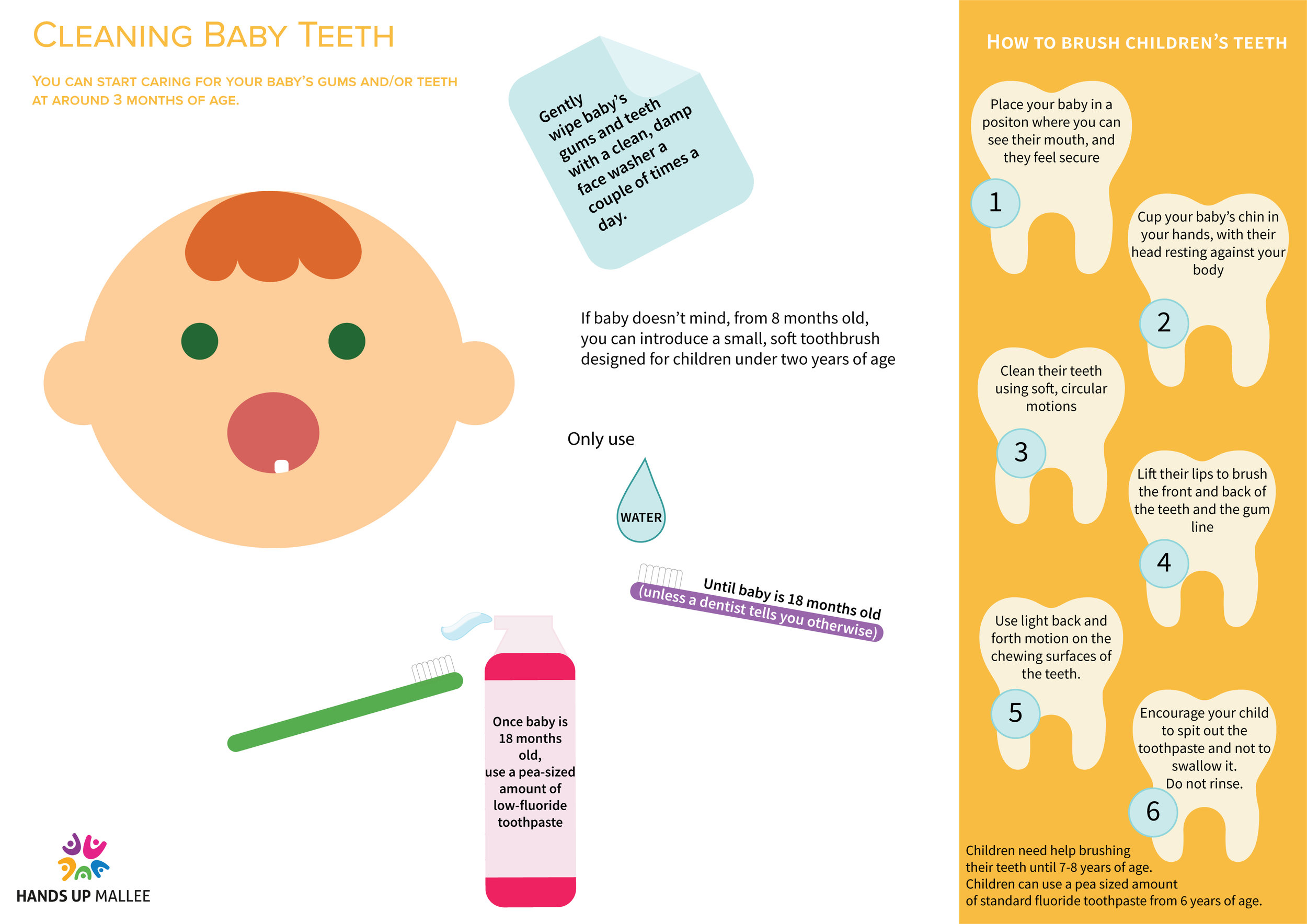 Cleaning Baby Teeth - Cleaning baby teeth is an essential step in keeping them healthy. Baby teeth health is important for:Eating, biting, chewing and grinding foods when baby starts to eat. Normal speech development. Making space for permanent teeth and guiding them into place. Developing jaw and mouth muscles. Self esteem. Learning.