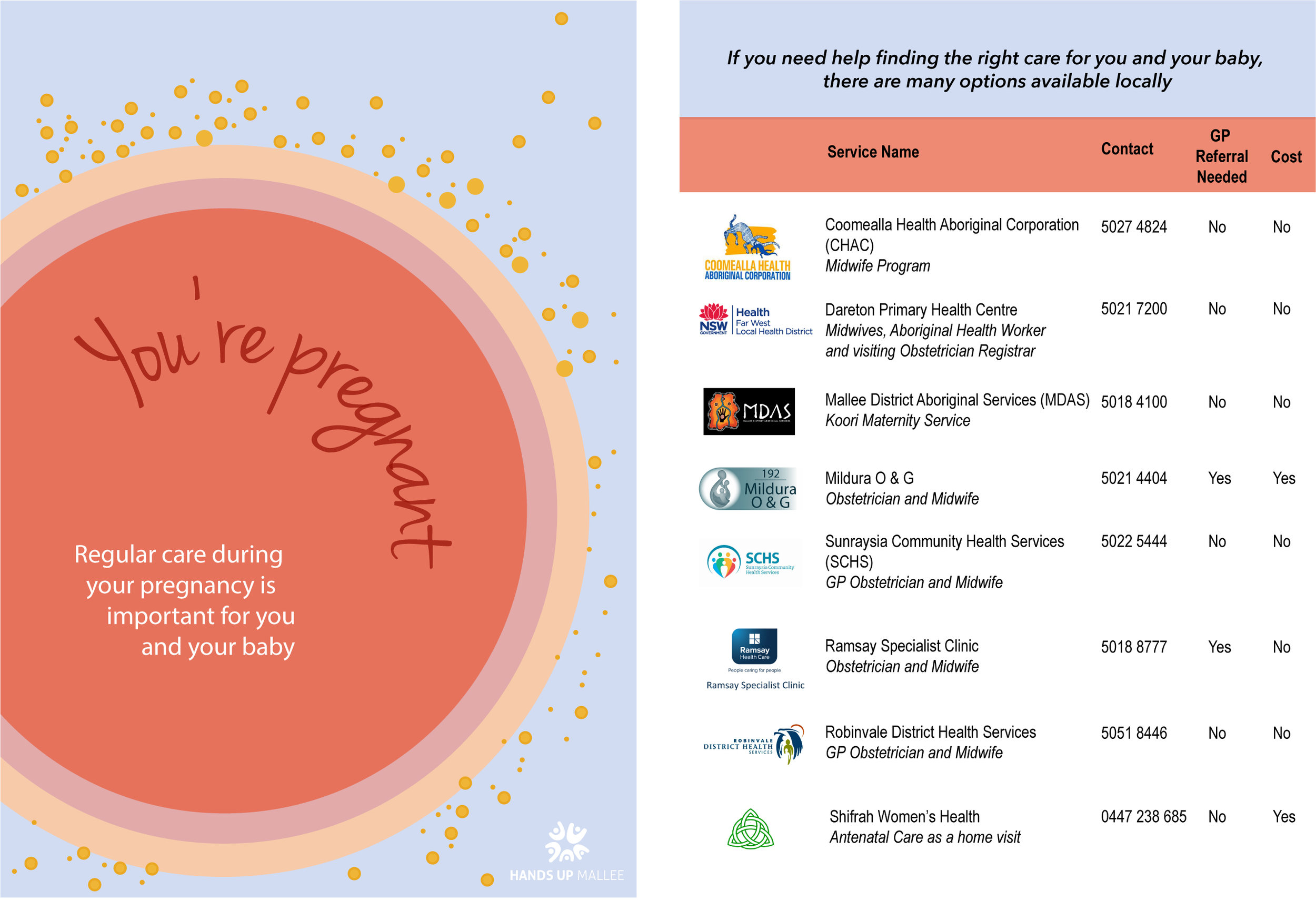 pregnancy care flyer - Want to know what pregnancy care options are available locally? Download our pregnancy care flyer