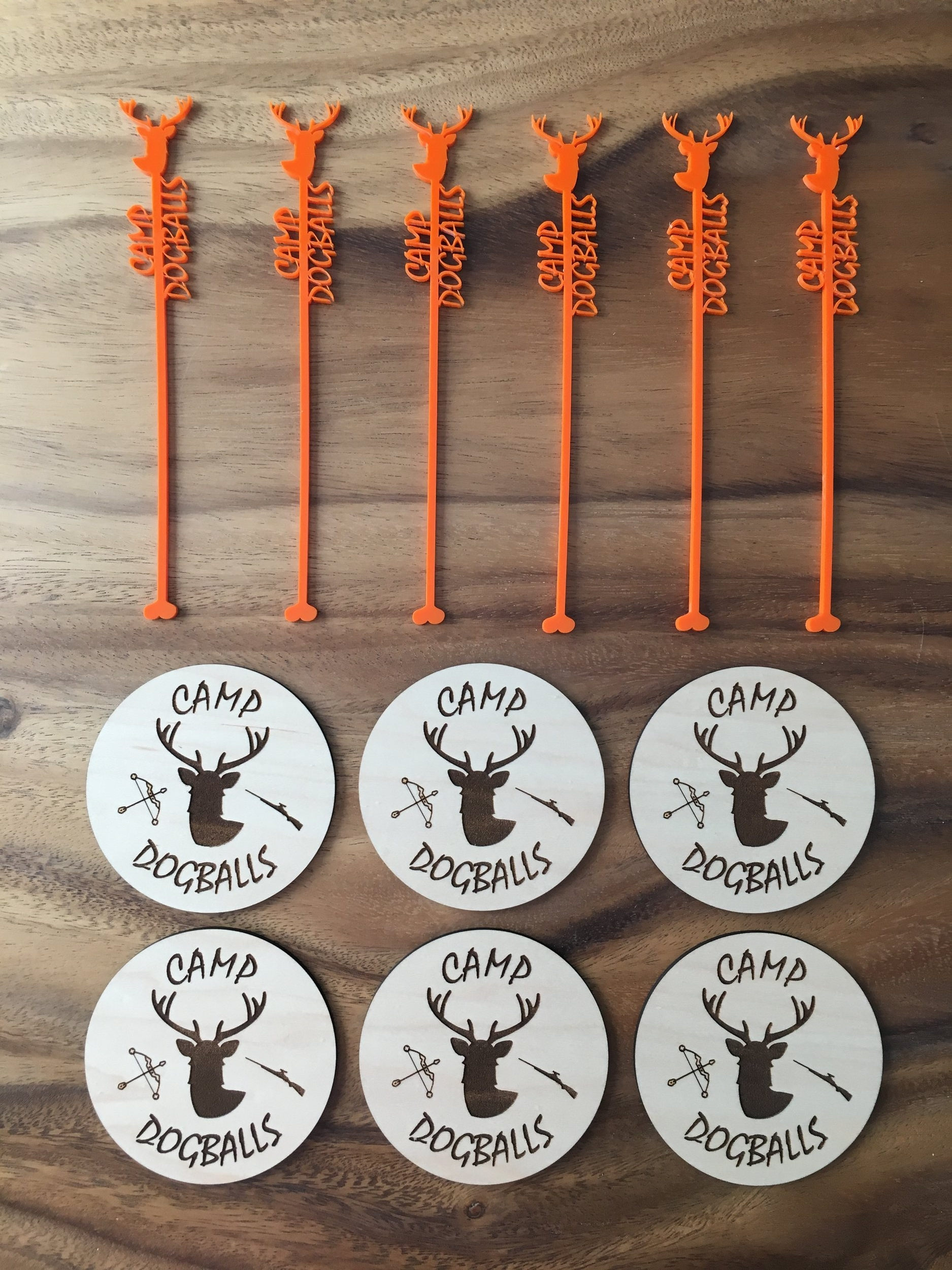 Stir Stick and Coaster Set - Set of 6 each, designed for a hunting camp