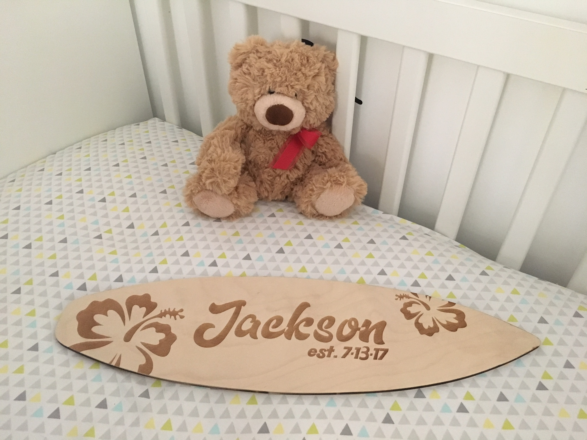 Custom Est. Surfboard Sign - Use it for your baby's nursery or to commemorate a couple getting married!