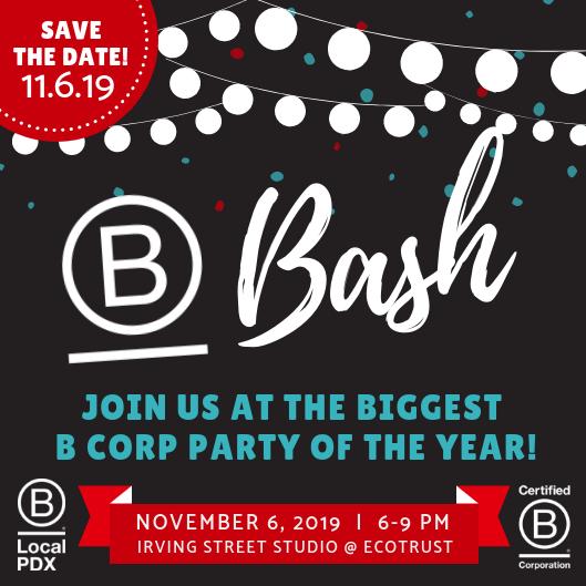 B Bash 2019 will be held on November 6, 2019 at Ecotrust's Irving Street Studio in Portland, Oregon.