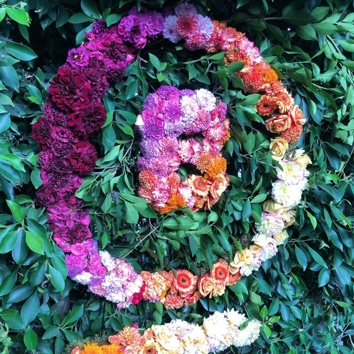 B Corp logo in flowers at the 2019 B Corp Champions Retreat in Hollywood, Los Angeles, California