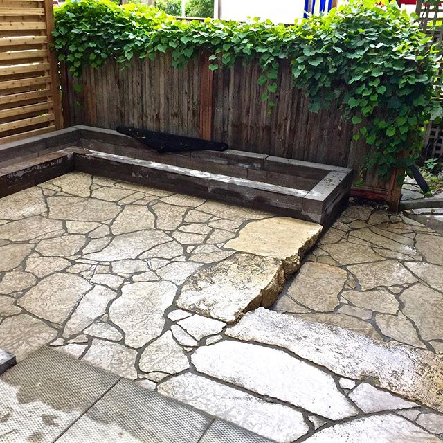 Looking back at this amazing jigsaw patio.  #limestone #jigsaw #patio #hardscape #backyarddesign #winnipeg #dreamyard #design #manitoba #landscapedesign #winnipeglandscaping #landscapeconstruction