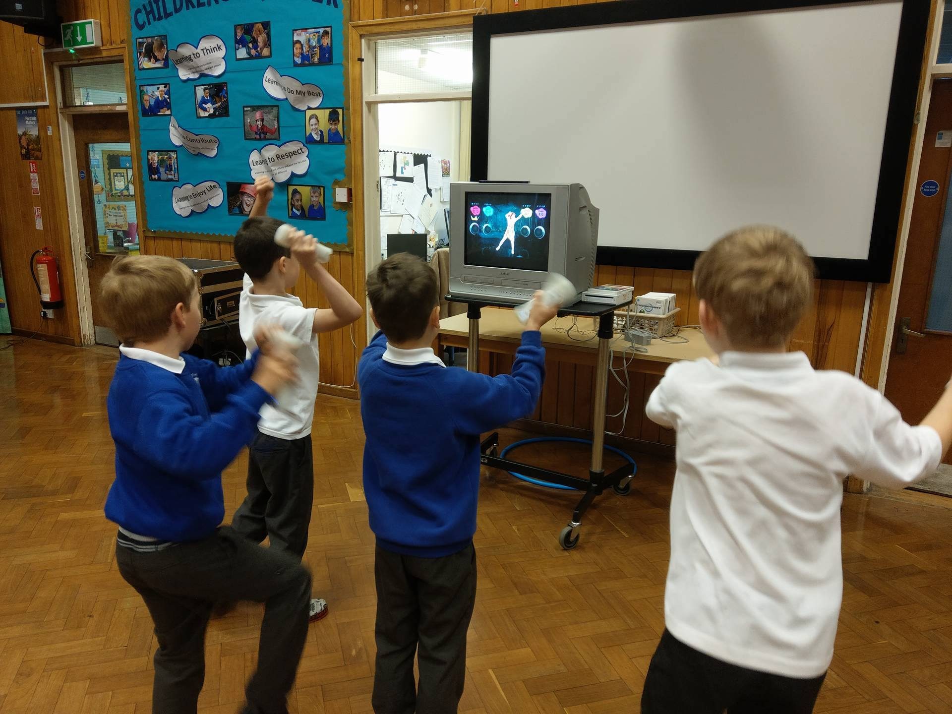 The children dancing on our Nintendo Wii