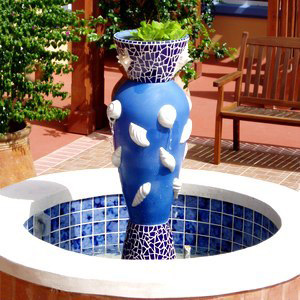 Ceramic & Shell Fountain in Situ