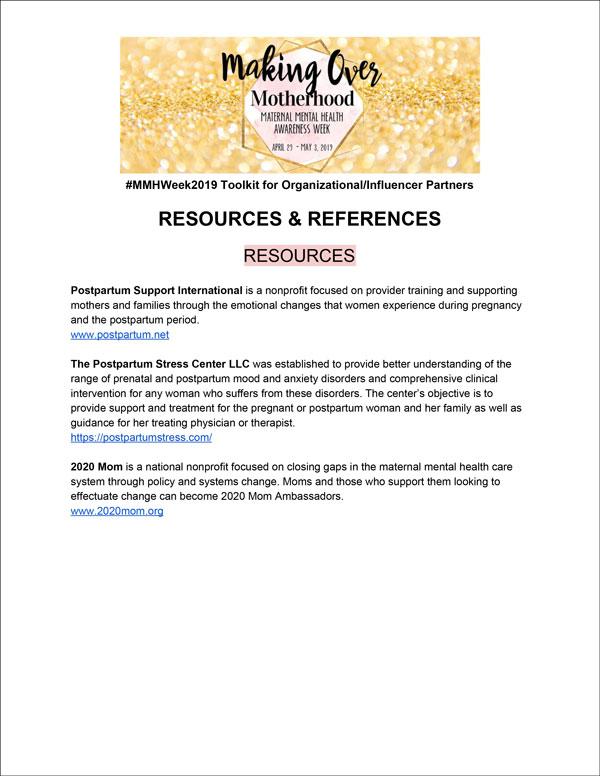 resources & references toolkit - Making Over motherhood Maternal mental health awareness week