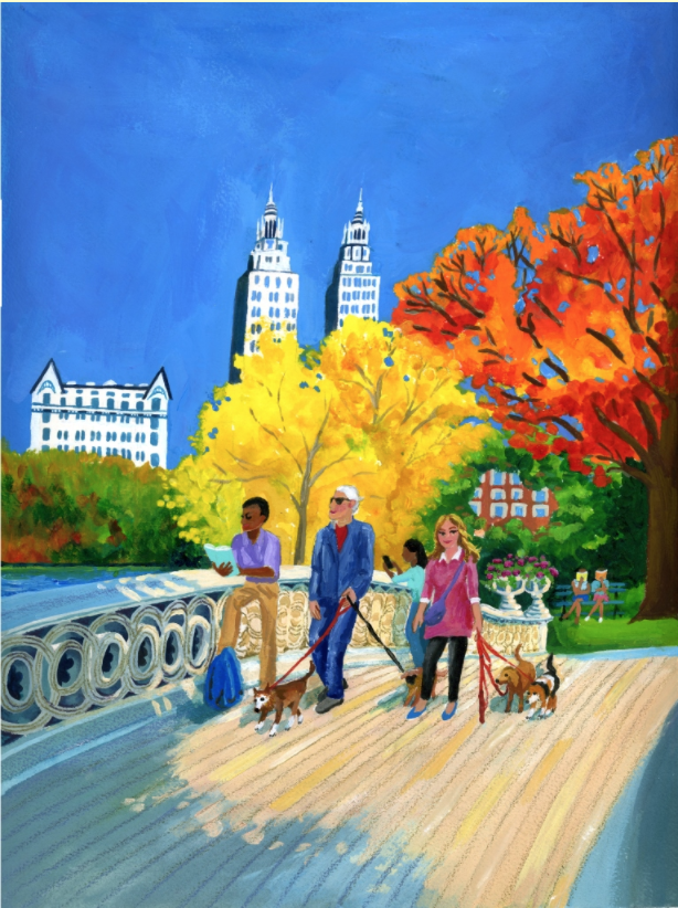 Bookmarks cover for September/October inspired by a trip to Central Park in New York