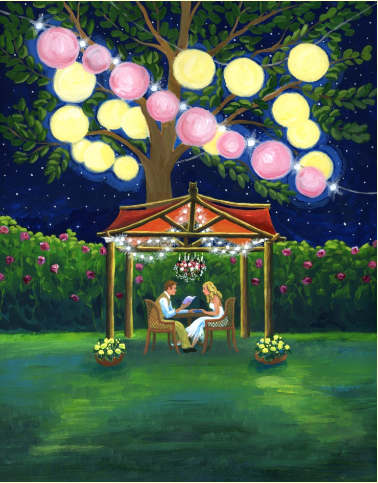 Cover for May/June issue of Bookmarks magazine with a garden party theme