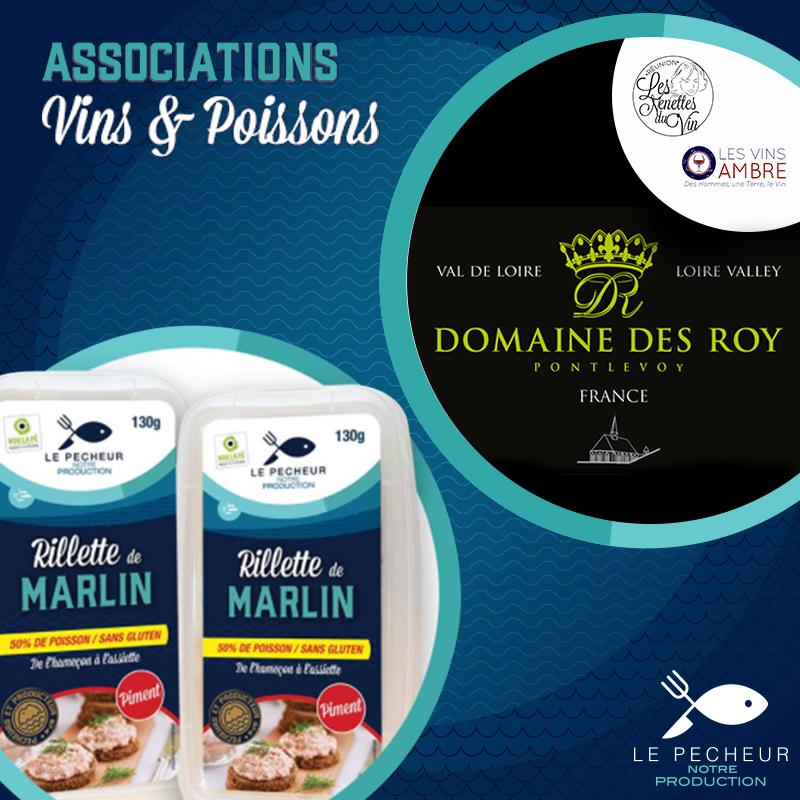 Rillettes deMarlin au Piment - Recommandations/ Conseils: Pour accorder ce mets très généreux en épices, il convient d'essayer d'adoucir avec un vin blanc plus douxGrain d'Or 2015 « vendanges tardives » du domaine Anne-Cécile Roy & Yohann Boutin - Domaine des Roy BIORégion: Vallée de la Loire Appellation: Touraine Cépage(s): OrboisMes Notes de Dégustation: Un blanc doux laissant percevoir des arômes de pêches, citron confit et de miel. Une agréable fraîcheur.La bouche d'une texture grasse se termine sur une finale persistante.