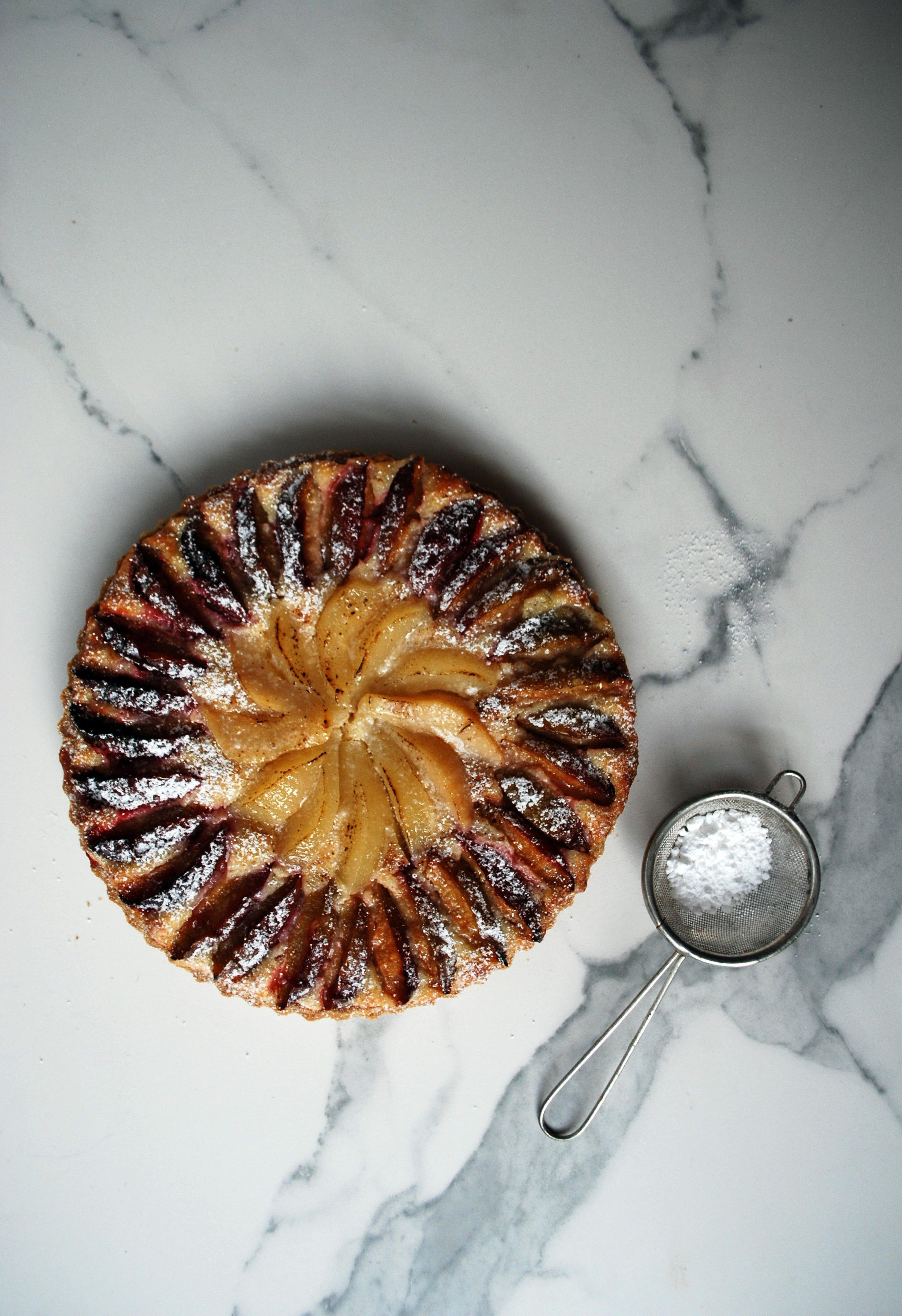 Pear and Plum Frangipane Tart