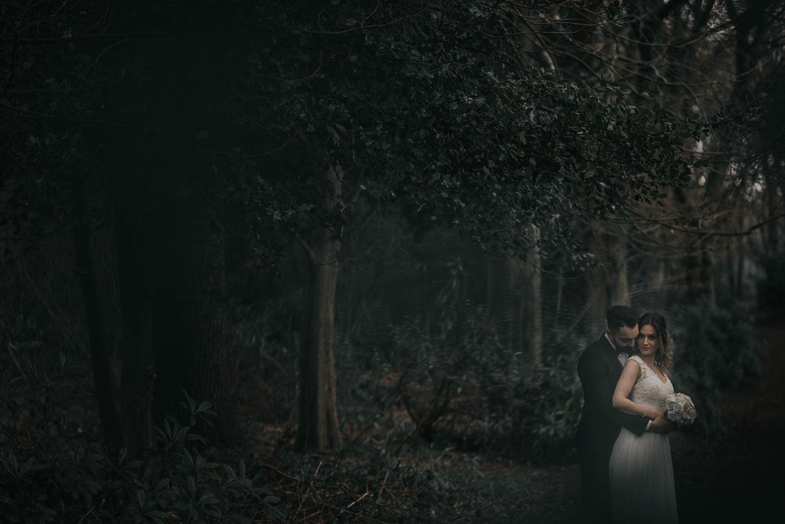a dark woodland scene with the bride and groom in the bottom left hand side of the image