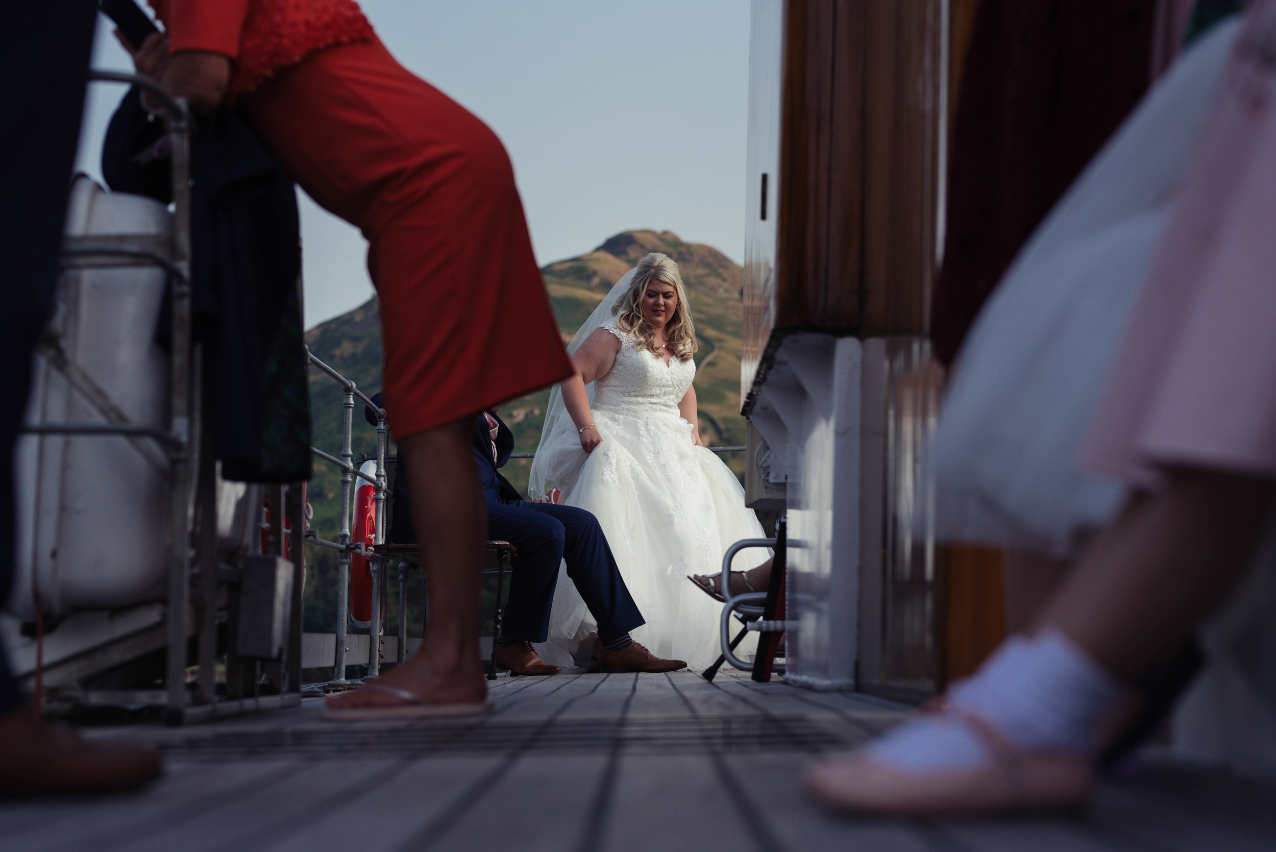 The bride standing on the ullswater steamer