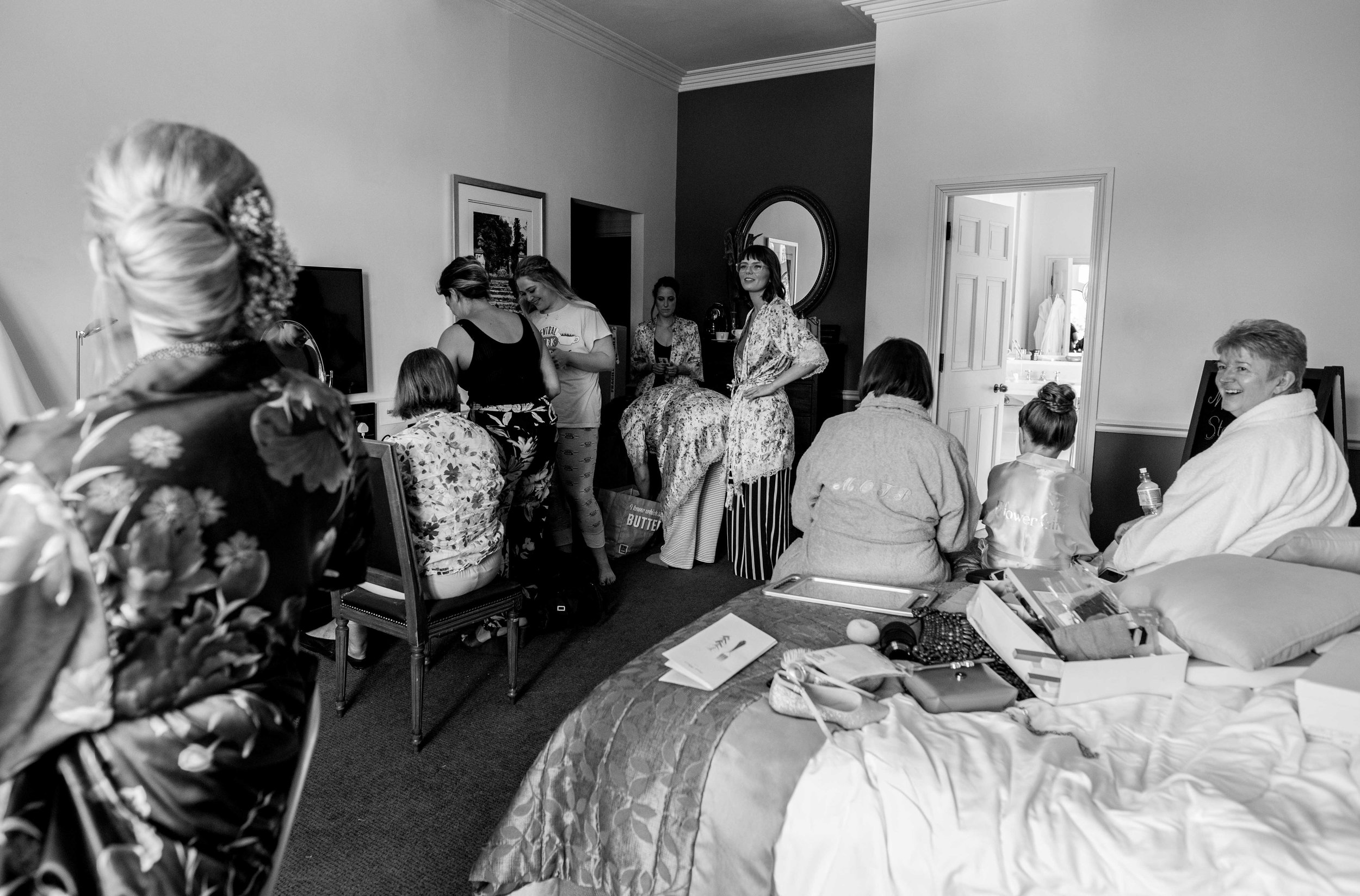 A room full of chaos during bridal preps