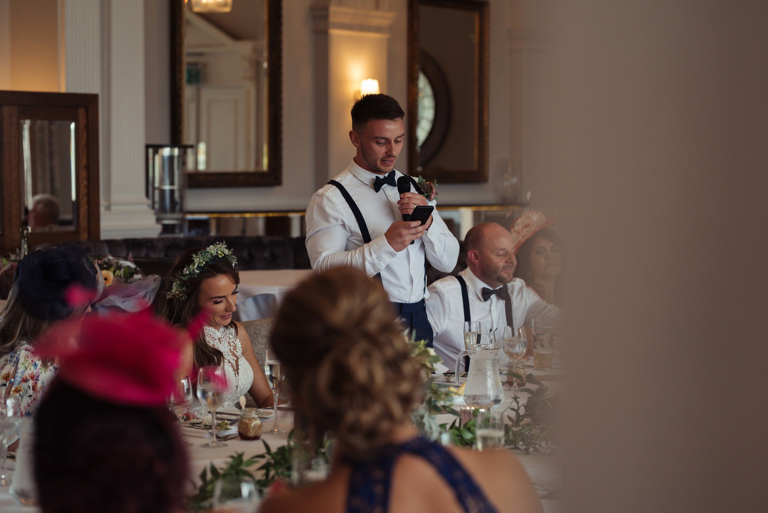 The groom becomes emotional during the speeches