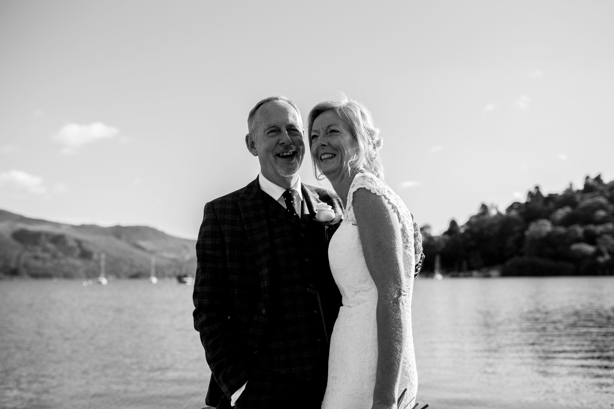 Cumbria wedding photography on the shore of the lake