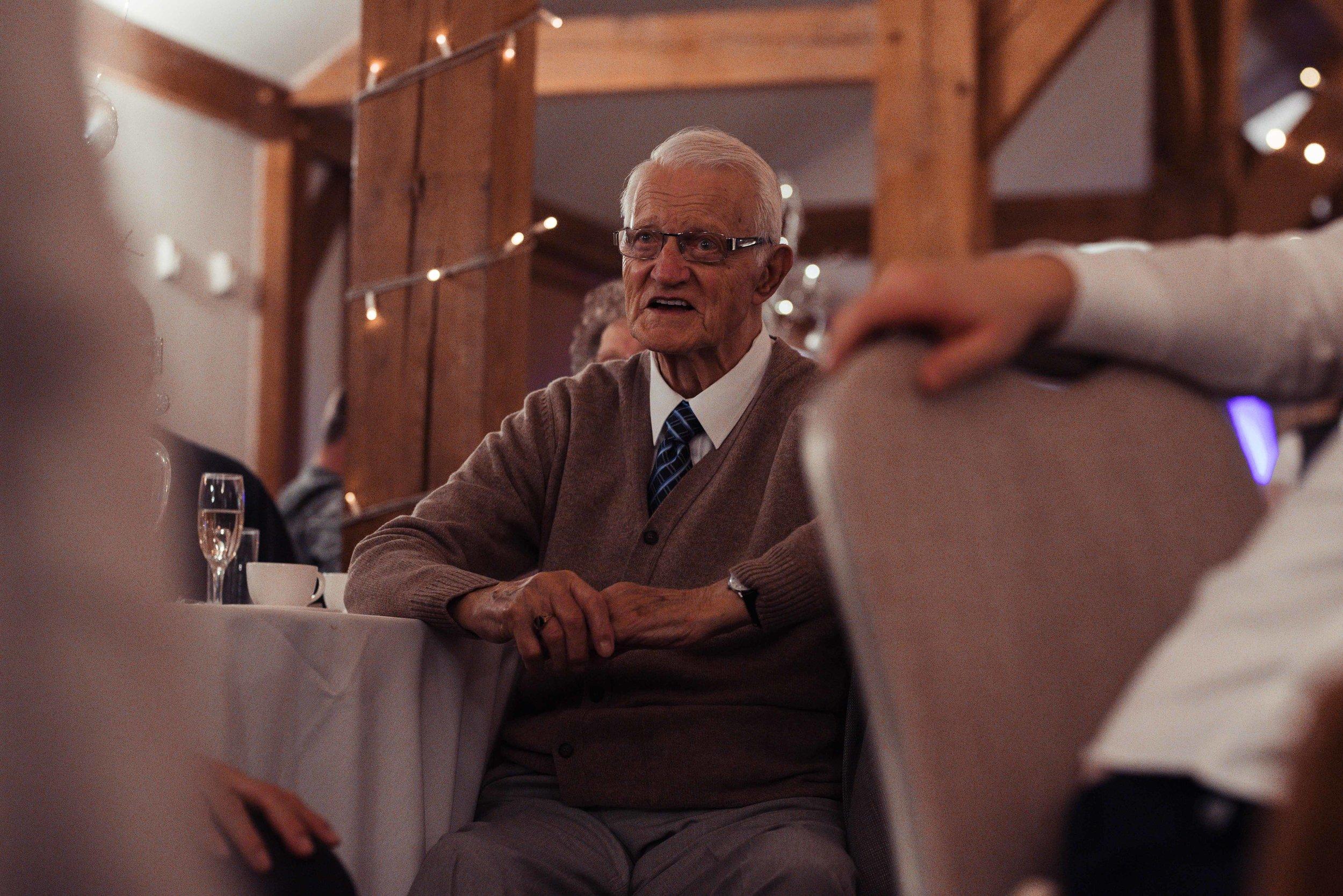 Grandpa watches the speeches