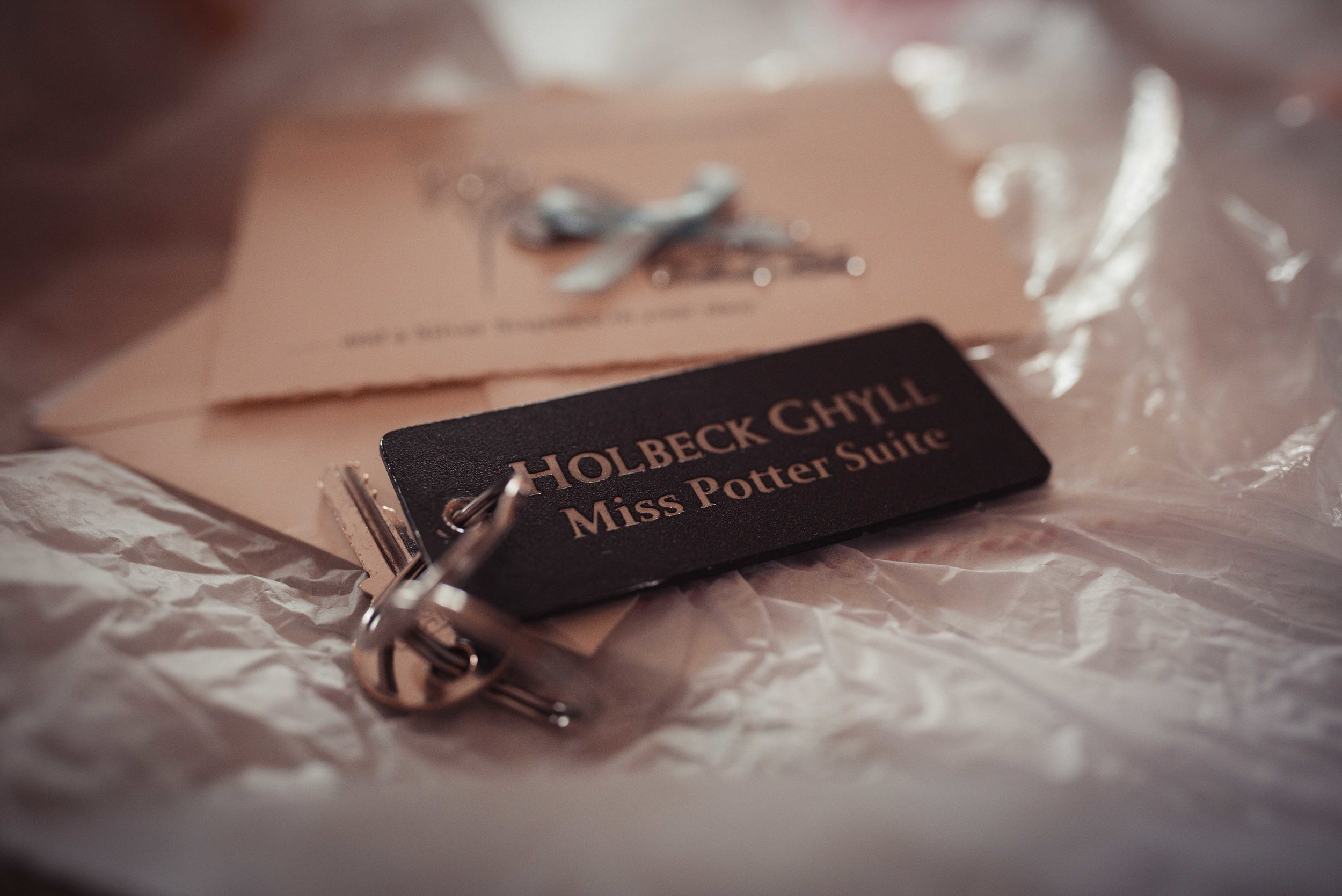 Close up of the key to the Miss Potter Suite