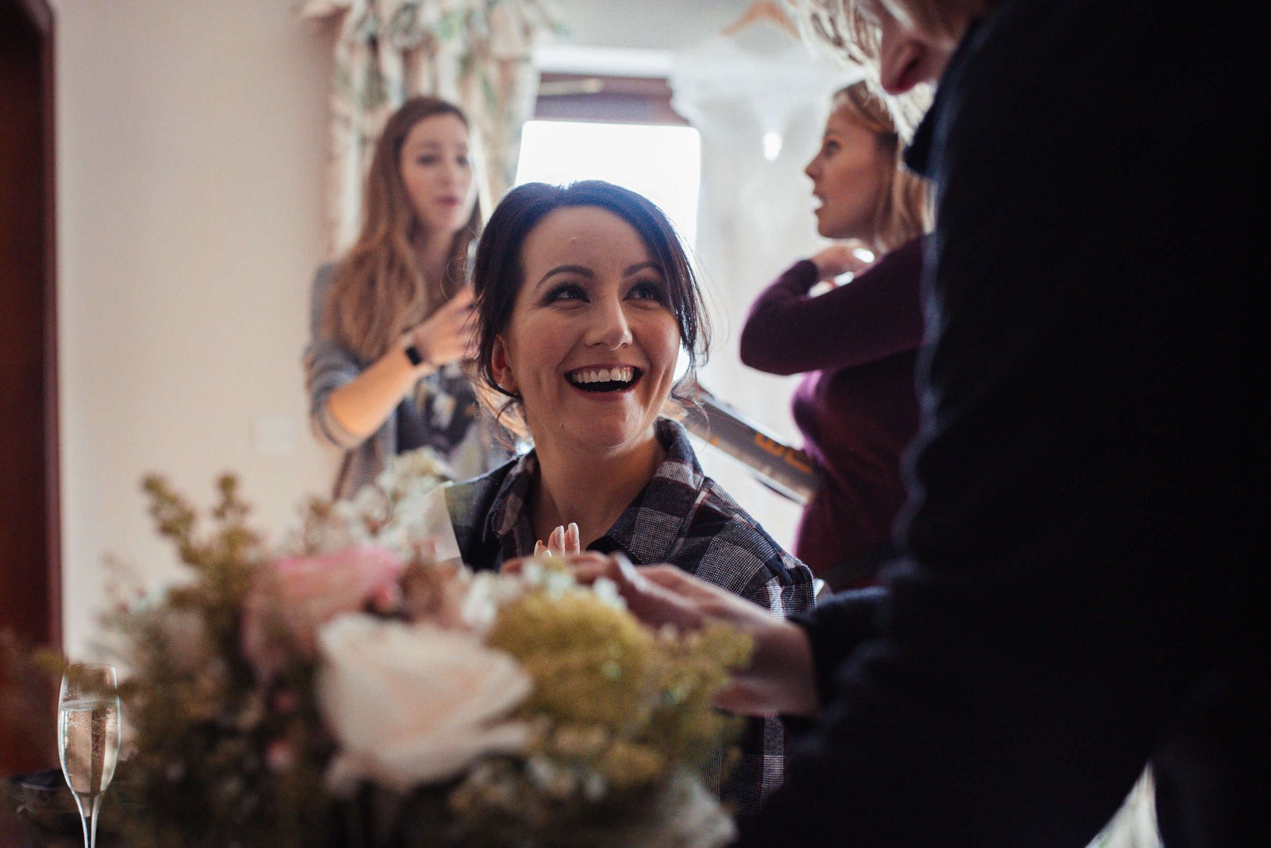 The bride sees her flowers for the first time