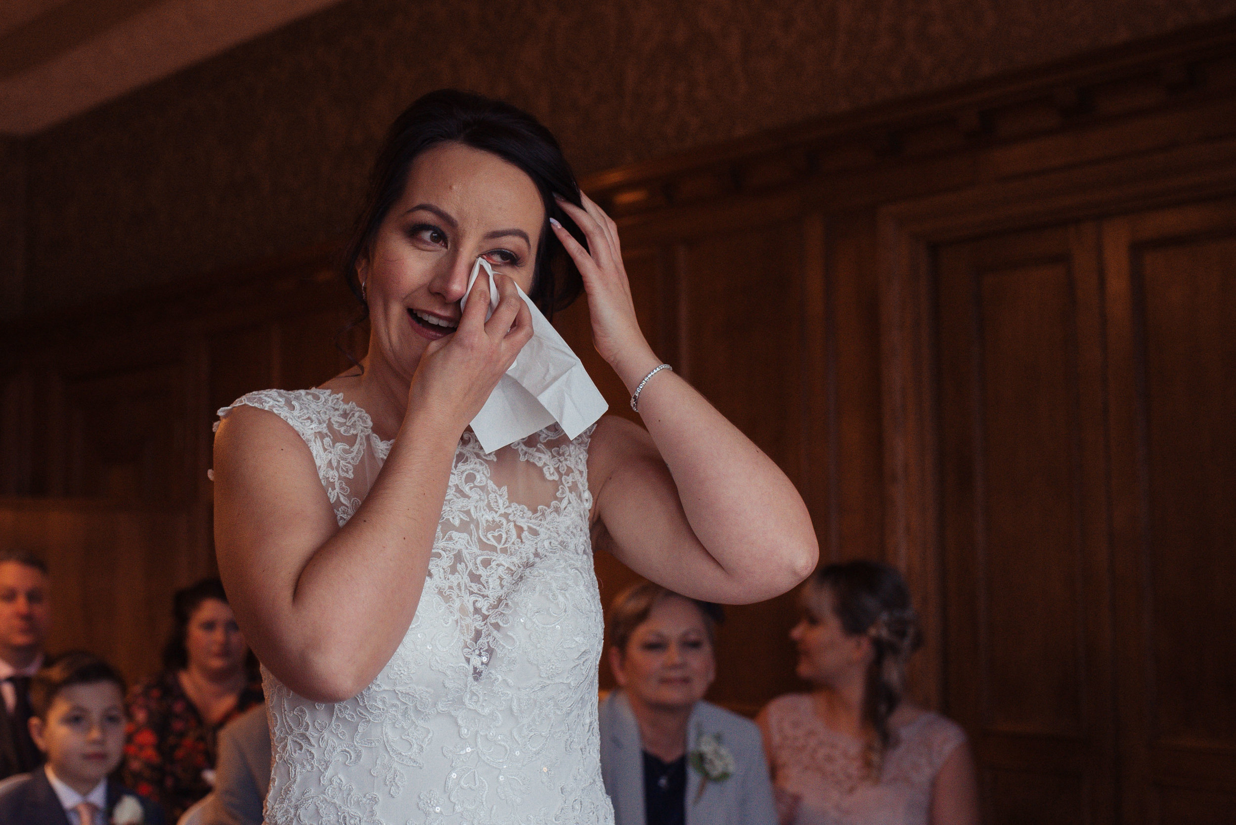 The bride cries at the start of the wedding ceremony