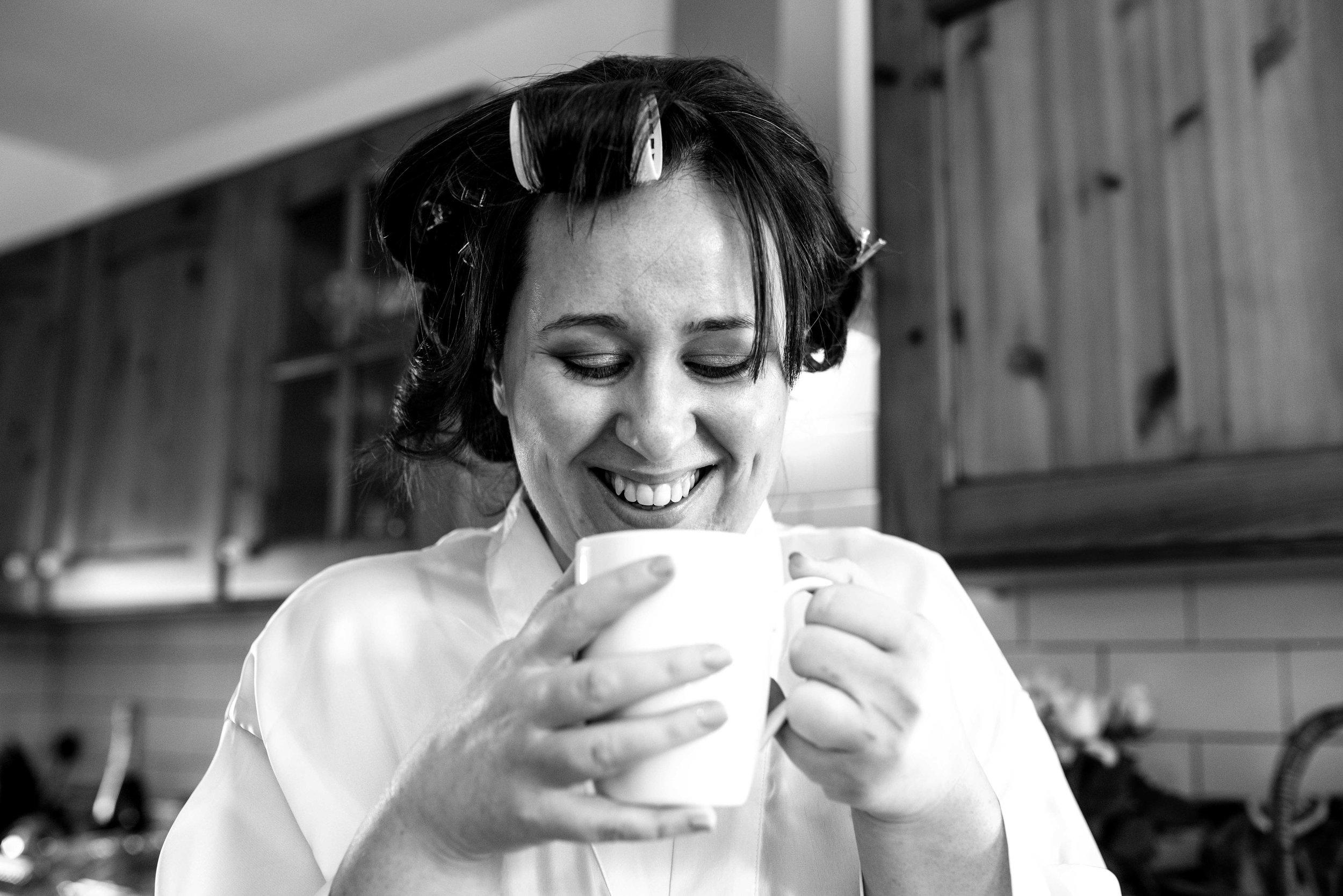 Bride having a cup of tea